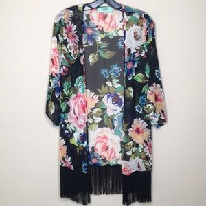 Karlie Floral Sheer Fringed Kimono Cover up Small